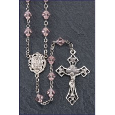 7mm RONDELLE ROSE TIN CUT ALL STERLING SILVER EXCELSIOR ROSARY