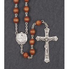 9x6mm OVAL BROWN WOOD LOC-LINK STERLING SILVER C&C ROSARY