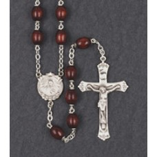 9x6mm OVAL MAROON WOOD STERLING SILVER CENTER & CRUCIFIX ROSARY