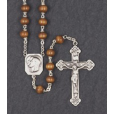 7mm ROUND BROWN WOOD STERLING SILVER CENTER & CRUCIFIX ROSARY