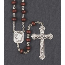 7mm ROUND MAROON WOOD STERLING SILVER CENTER & CRUCIFIX ROSARY