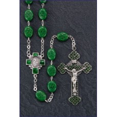 OVAL IRISH SHAMROCK BEAD STERLING SILVER C&C ROSARY