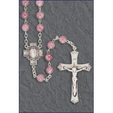 7mm ROSE MARBLE STERLING SILVER ROSARY