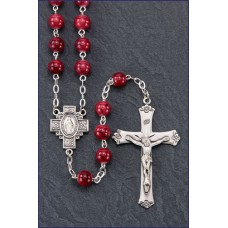 7mm RUBY MARBLE STERLING SILVER ROSARY