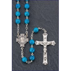 7mm AQUA MARBLE STERLING SILVER ROSARY