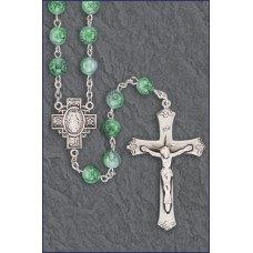 7mm PERIDOT MARBLE STERLING SILVER ROSARY