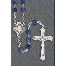 7mm DARK SAPPHIRE MARBLE STERLI NG SILVER ROSARY