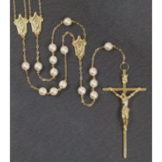 "10mm PEARL GOLD LASSO ROSARY 49 "" LENGTH"
