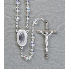 "6mm CRYSTAL AB ROSARY WITH LOURDES WATER CENTER 19"" LENGTH"