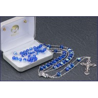 "7mm SAPPHIRE AB LADDER ROSARY 2 0"" LENGTH"