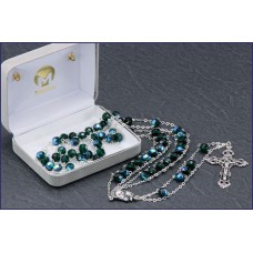 "7mm EMERALD AB LADDER ROSARY 20 "" LENGTH"
