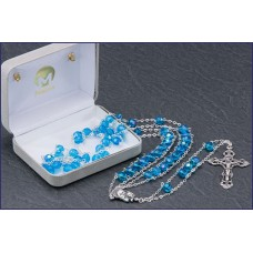 "7mm AQUA AB LADDER ROSARY 20"" LENGTH"