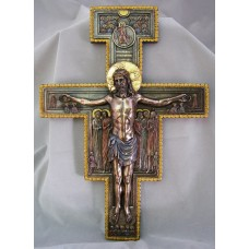 "San Damiano Crucifix Lightly hand painted cold cast bronze 11.5""x5.75"""