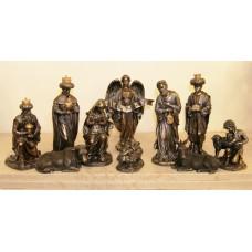 Nativity Set 10 piece bronze